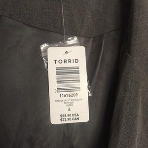 torrid Jackets & Coats - Torrid Gray Gabardine Tie Cuff Blazer